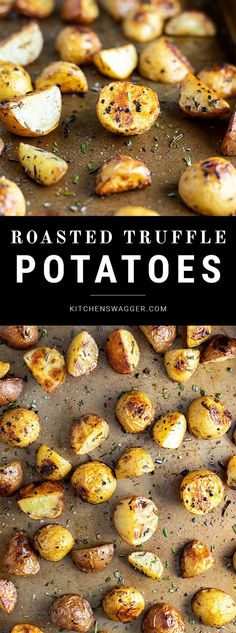Roasted Baby Potatoes with Garlic, Rosemary, and Truffle Oil Recipe The perfect celebration potato. Roasted potatoes made with fresh rosemary, garlic, and truffle oil. Rosemary Roasted Potatoes, Roasted Potato Recipes, Truffle Oil, Truffle Recipe, Truffle Fries, Parmesan, Side Dish Recipes, Side Dishes, Food And Drink