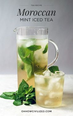 Moroccan Mint Iced Tea - - The Baccarat Hotel's Moroccan Mint Tea recipe. Refreshing Drinks, Summer Drinks, Fun Drinks, Healthy Drinks, Beverages, Drinks With Mint, Healthy Food, Iced Tea Recipes, Mint Recipes