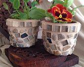 Mosaic flower pot, indoor planter, herb pot, succulent planter, mini mosaic planters, rustic, small flower pots, glass and stone pot
