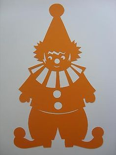 Fensterbild Tonkarton  Clown Harlekin  orange filigran 34 cm