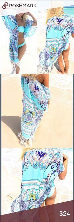 f2fb6b5e74 SEXY BOHO SWIMMING SUIT COVER UP Awesome Chiffon Beachy Cuteness with  tassels... Swim