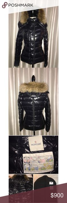 Moncler armoise fur-trimmed puffer jacket Laquered short nylon jacket with fur-trimmed hood. Removable fox fur-trimmed hood. Stand collar. Button front with concealed zip. Chest flap buttoned pocket. Waist zip pockets. Filled with Down/feathers. Dyed fox. Sz. 2 which is a MEDIUM. Comes with Saks cloth bag (purchased at Saks). Wore for one winter, too big for me now. SOLD OUT at saks. NO TRADES. Moncler Jackets & Coats Puffers