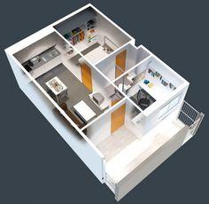 50 Plans en 3D d\'appartement avec 1 chambres