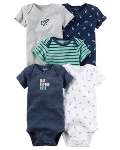 Baby Boy 5-Pack Short-Sleeve Bodysuits from Carters.com. Shop clothing & accessories from a trusted name in kids, toddlers, and baby clothes.