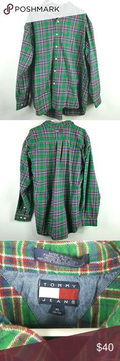 """Vintage Tommy Hilfiger Flannel Shirt Size XL Green plaid flannel.  Heavy shirt. Tommy Jeans logo on back of shirt.  Approximate measurements flat  Chest 27"""" Length front 30"""" Length back 32""""  The Dad says- I think I had this shirt in high school.  The Kid says- Looks like something mim would make us wear for Christmas pictures. Tommy Hilfiger Shirts Casual Button Down Shirts"""