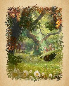Fantasy Illustration, Cute Illustration, Cute Characters, Watercolor, Landscape, Children, Book, Painting, Art