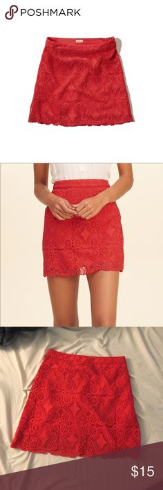 Hollister Red Lace A-Line Skirt Only worn once. This beautiful skirt will be perfect to add a pop of color to any outfit! Hollister Skirts A-Line or Full