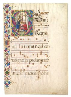 Manuscript Leaf with Saint John Gualbert in an Initial S, from an Antiphonary Date: early 16th century Geography: Made in Umbria, Italy Culture: Italian Medium: Tempera, ink, and gold on parchment Dimensions: Overall: 28 1/4 x 19 15/16 in. (71.7 x 50.6 cm) Illumination: 8 1/8 x 6 15/16 in. (20.6 x 17.7 cm) Stave Ht: 2 1/16 in. (5.3 cm) stave interspace: 2 1/16 in. (5.2 cm) Mat size: 37 x 28 1/8 in. (94 x 71.5 cm) Mat Window: 26 3/4 x 16 15/16 in. (68 x 43.1 cm)
