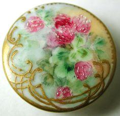 Antique Porcelain Button Hand Painted Flowers w Art Nouveau Gilt Border | eBay