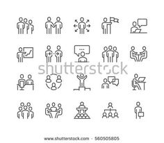 Simple Set of Business People Related Vector Line Icons. Contains such Icons as One-on-One Meeting, Workplace, Business Communication, Team Structure and more. Line Diagram, Office Icon, Communication Icon, Network Icon, Human Icon, People Icon, Sketch Notes, Signage Design, Landscape Photography