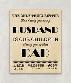 The only thing better than having you as my Husband is our children having you as their DAD - Customized print for that special Father - 8x10 UNFRAMED Print. Wives listen closely, your husband will love this personalized print for any occasion or no occasion at all. Surprise him with your thoughfulness. Purchase the print, frame it in a pretty frame and present it to him. Amazing Fathers Day Gift. VERY IMPORTANT! SIDE EFFECTS OF PRINTS REVEALED! Dear friend, please note that these items...