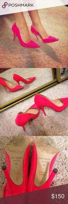 Kate Spade pink heels So cute  bought from another posher but I've never worn!!  they are too small on me. Would fit best size 8. Perfect condition!! kate spade Shoes Heels