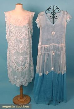 Augusta Auctions, March/April 2005 Vintage Clothing & Textile Auction, Lot 645: 2 Embroidered Summer Dresses, 1920s
