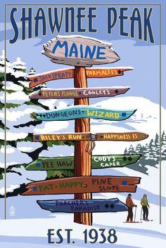 Print (Shawnee Peak, Maine - Ski Destinations Sign - Lantern Press Artwork)