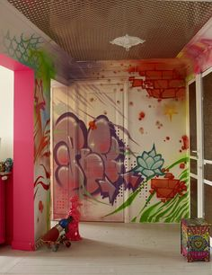 Grafiti mural in designer Manish Arora's Paris apartment. This is a great idea for teenage kids' rooms.  Source:  Lonny Magazine - May 2014