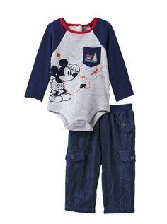 NEW 2 PIECE BABY BOY/'S MICKEY MOUSE   BODYSUITS SZ 0-3M NAVY /& WHITE.
