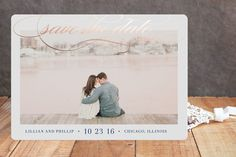 """""""Flourish"""" - Classical, Elegant Foil-pressed Save The Date Cards in Gold by Lehan Veenker."""