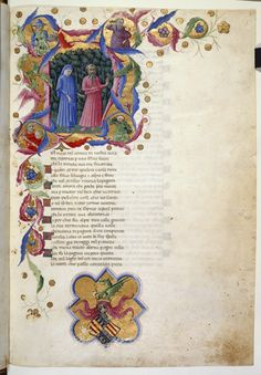 Yates Thompson 36 f. Historiated initial 'N' of Dante and Virgil in a dark wood, with four half-length figures representing Justice, Power, Peace and Temperance. Medieval Manuscript, Medieval Art, Illuminated Letters, Illuminated Manuscript, Dantes Inferno, Cultural Significance, Dante Alighieri, Book Of Kells, Book Of Hours