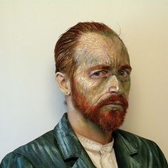 Canadian artist James Birkbeck shot this creative photo wearing paint to look like a van Gogh self-portrait painting. Here's an actual van Gogh self-portra Vincent Van Gogh, Famous Words, Famous Art, Van Gogh Self Portrait, Makeup Jobs, Art Costume, Costume Ideas, Costume Shop, No Photoshop