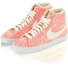 Nike x Liberty Capel Liberty Print Blazer Mid Rise Trainers ($155) ❤ liked on Polyvore featuring shoes, sneakers, nike, schuhe, stitch shoes, flower print shoes, floral pattern shoes and nike footwear