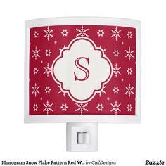Monogram Snowflakes Pattern Red White Night Light