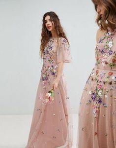 ASOS WEDDING – Maxikleid aus Netzstoff mit Blumenstickerei und weiten Ärmeln