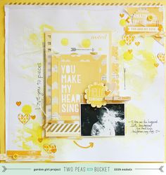 Lilith's scrapbooking venture, love all the yellow in this scrapbook layout!