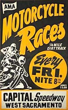Capital Speedway, CA Motorcycle Races Ad Fine Art Print