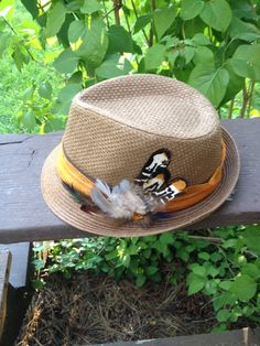 Ladies Fedora Natural Straw Hat with Decorative Feather Jeweled Hatband. Purchase original handmade jewelry & accessory designs from http://www.etsy.com/shop/TahoeBlueDesigns