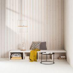 KARWEI | Deze loungebank van blank underlayment biedt niet alleen veel opbergruimte, maar is met een paar grote kussens ook uitermate geschikt voor couchsurfing. De achterwand bekleed je met wit plakhout.