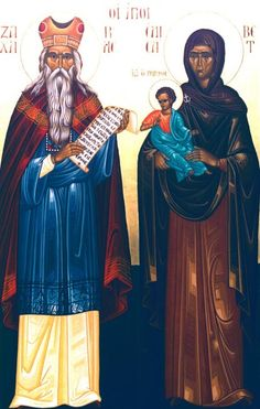 Full of Grace and Truth: Sts. Zacharias the Prophet and Elizabeth the Righteous, the Parents of the Precious Forerunner<br> Religious Images, Religious Icons, Religious Art, Famous Saints, Church Icon, Byzantine Icons, Orthodox Christianity, John The Baptist, Catholic Saints