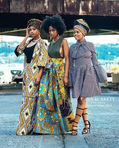 Our Stunning models wearing our New! Chambers jacket and wide leg trousers. New Dia maxi and gorgeou African Attire, African Wear, African Women, African Dress, African Style, African Inspired Fashion, African Print Fashion, Africa Fashion, African Prints