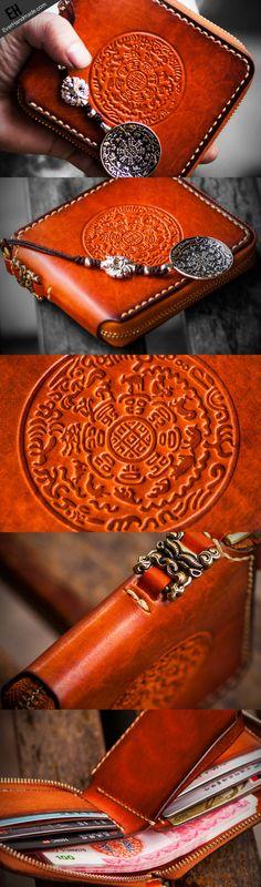 Handmade leather biker wallet clutch zip Short wallet brown leather men