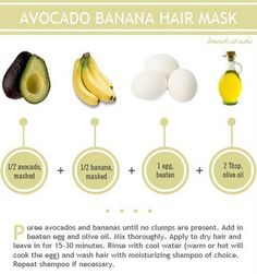 DIY hair mask: Avocado + Banana #fashion #beauty #DIY