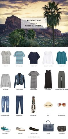 What to Pack for Phoenix Arizona Packing Light List Source by formwort outfits arizona Capsule Wardrobe, Capsule Outfits, Travel Wardrobe, Beach Wardrobe, Outfits Winter, Summer Outfits, Travel Capsule, Travel Packing, Packing Tips