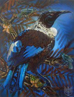 The Night Tui by Michel Tuffery (NZ), Graph stencil, acrylic on canvas Maori Patterns, School Murals, Nz Art, Watercolor Bird, Animal Paintings, Artist Painting, Bird Art, Light In The Dark, Contemporary Art