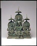 Standing Four-Armed Avalokiteshvara Flanked by Tara and Bhrikuti(?)   Indonesia (Java)   Central Javanese period   The Met