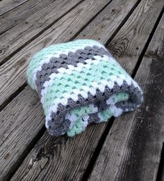 Mint Green Crochet Baby Blanket Green Grey and White