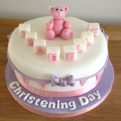 Girls christening cake pink teddy bear by www.candyscupcakes.co.uk