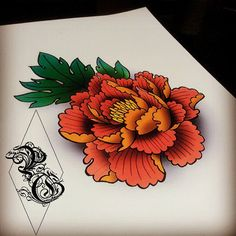 Japanese peony  by pretty grotesque tattoos and designs uk  for custom work please email : prettygrotesquetattoosuk@hotmail.com