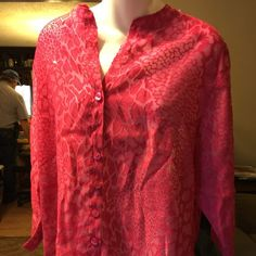 Sheer lace button up top.make offer Nave sheer lace blouse with button up front and 3/4 in sleeves with even hem bottom. Investment 11 Tops Button Down Shirts
