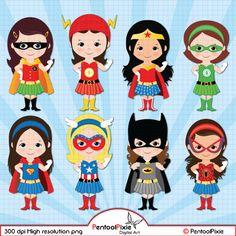 Superhero girls clipart Girl power clipart Supergirls