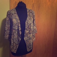 Orange/ Brown Sheer Shrug Floral pattern. Autumn colors- oranges and Browns. Sheer Lily White Sweaters Shrugs & Ponchos