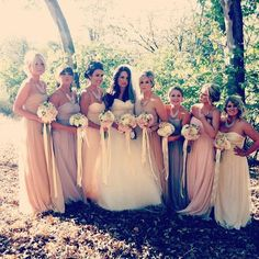 bridesmaids dresses- same dress different complimentary colors! Love