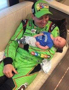 """""""My boys! He loves being in Daddy's arms!"""" says Samantha Busch, mom to Brexton & wife to Kyle. Fathers Day Photo, First Fathers Day, Nascar Racing, Racing Team, Kyle Bush, Kyle Busch Nascar, Kyle Busch Motorsports, Chase Elliot, Kevin Harvick"""