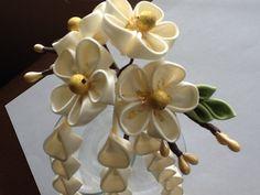 Ivory Kanzashi Flower Hair Pin