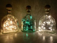 Patron Tequila Green Lighted Bottle by BoMoLuTra on Etsy, $19.00 Liquor Bottle Lights, Wine And Liquor, Liquor Bottles, Patron Bottle Crafts, Liquor Bottle Crafts, Tequila Bottles, Alcohol Bottles, Plants In Bottles, Patron Tequila