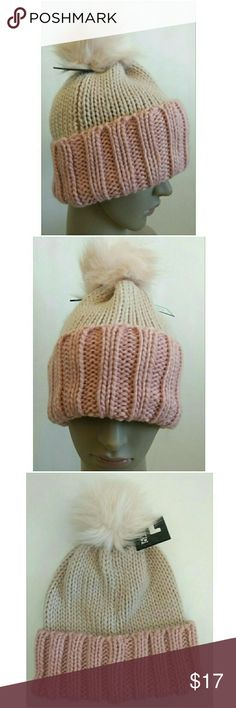 Rose Smoke Pink Fur Pom Knit Beanie Cap Hat Women's Apt 9 Beanie Hat with Fur Pom Tag Color Rose Smoke One size fits most  New with tags $28 Colors may appear different in person Reasonable offers considered No trades Apt. 9 Accessories Hats