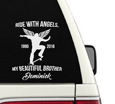 Ride With Angels, My Beautiful Brother Skateboarding Memorial Car Decal - 7x9 >>> You can find out more details at the link of the image. (Amazon affiliate link)