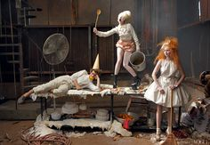 Hansel & Gretel (Lily Cole, Lady Gaga, Andrew Garfield)  photographed by Annie Leibovitz, Vogue, December 2009